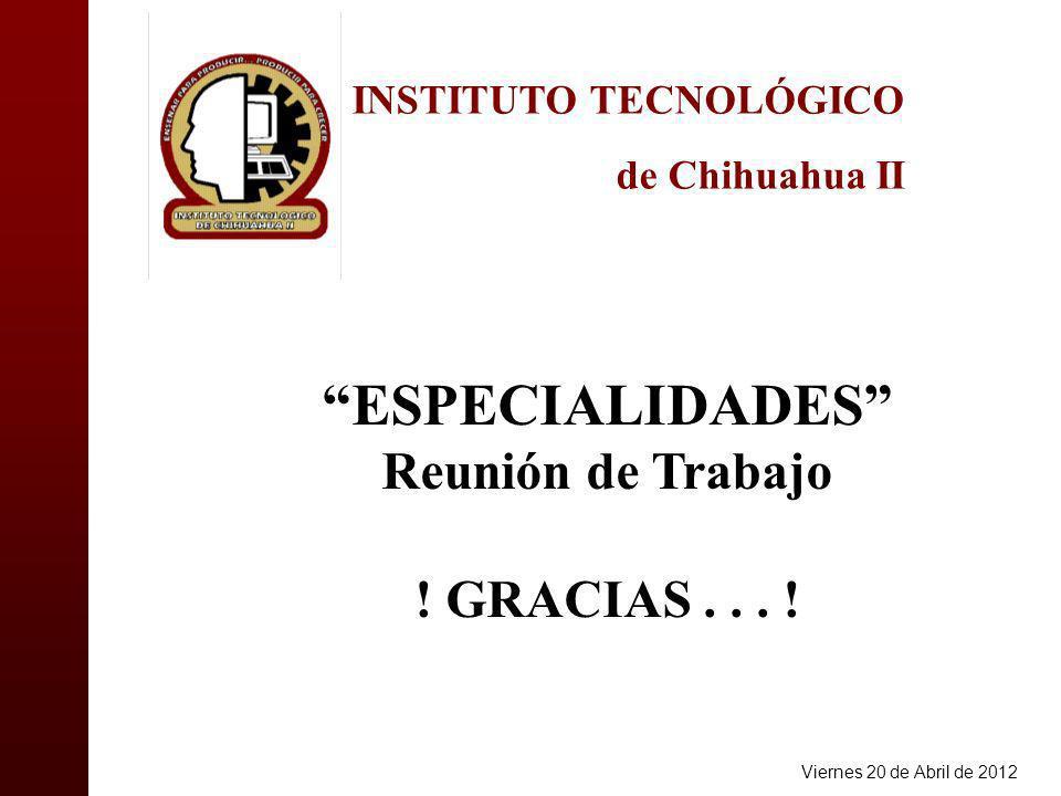 INSTITUTO TECNOLÓGICO de Chihuahua II ESPECIALIDADES Reunión de Trabajo .