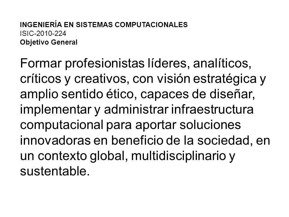 INGENIERÍA EN SISTEMAS COMPUTACIONALES ISIC-2010-224 Objetivo General Formar profesionistas líderes, analíticos, críticos y creativos, con visión estratégica y amplio sentido ético, capaces de diseñar, implementar y administrar infraestructura computacional para aportar soluciones innovadoras en beneficio de la sociedad, en un contexto global, multidisciplinario y sustentable.