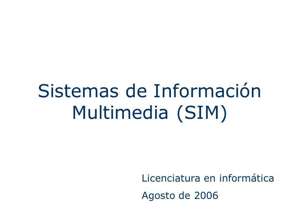 Sistemas de Información Multimedia (SIM) Licenciatura en informática Agosto de 2006