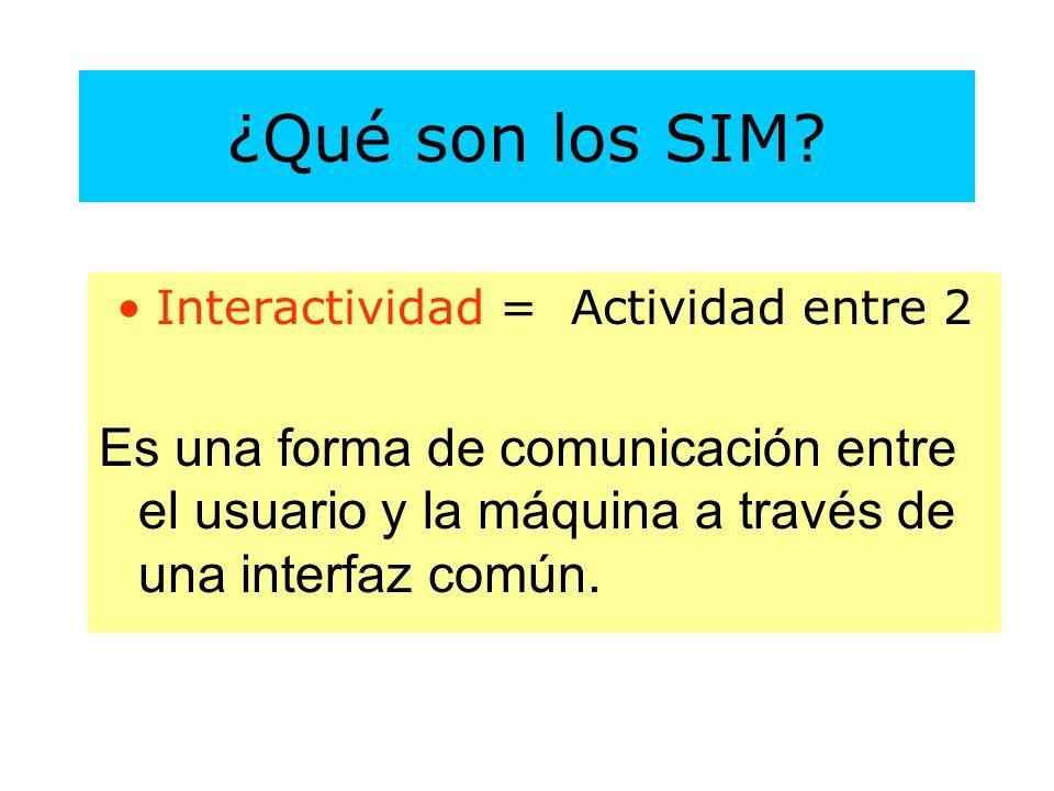 Interactividad = Actividad entre 2 Es una forma de comunicación entre el usuario y la máquina a través de una interfaz común.