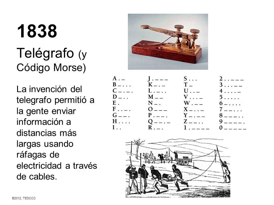 1838 Telégrafo (y Código Morse) La invención del telegrafo permitió a la gente enviar información a distancias más largas usando ráfagas de electricid