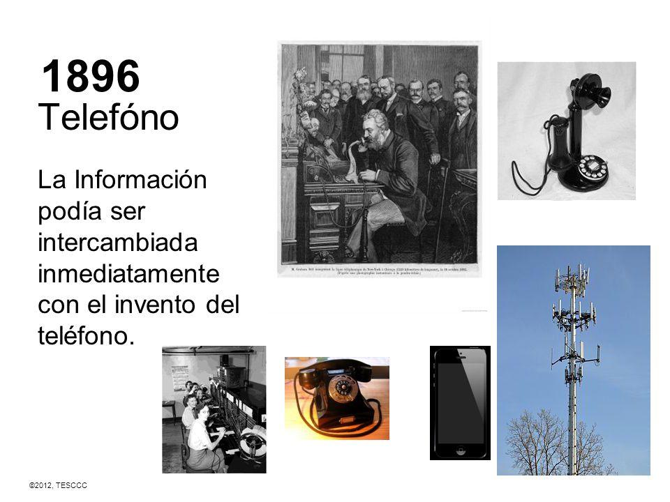 1896 Telefóno La Información podía ser intercambiada inmediatamente con el invento del teléfono. ©2012, TESCCC