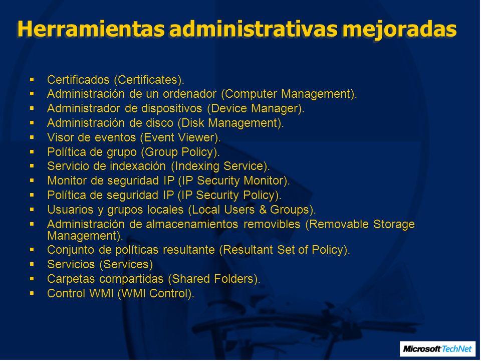 Herramientas administrativas mejoradas Certificados (Certificates).