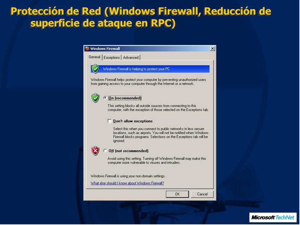 Protección de memoria (Ataques buffer overruns) DEP Data execution prevention