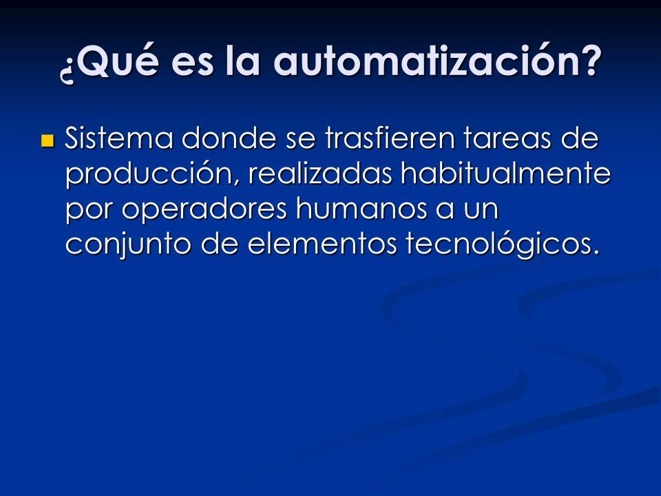 ¿ Qué es la automatización? Sistema donde se trasfieren tareas de producción, realizadas habitualmente por operadores humanos a un conjunto de element