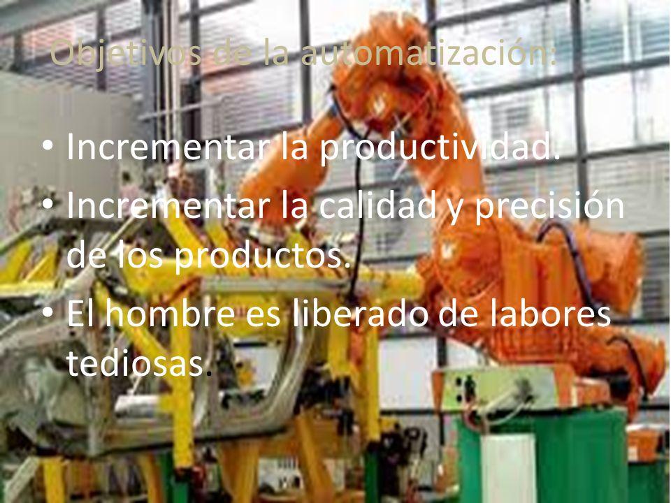 Objetivos de la automatización : Incrementar la productividad.