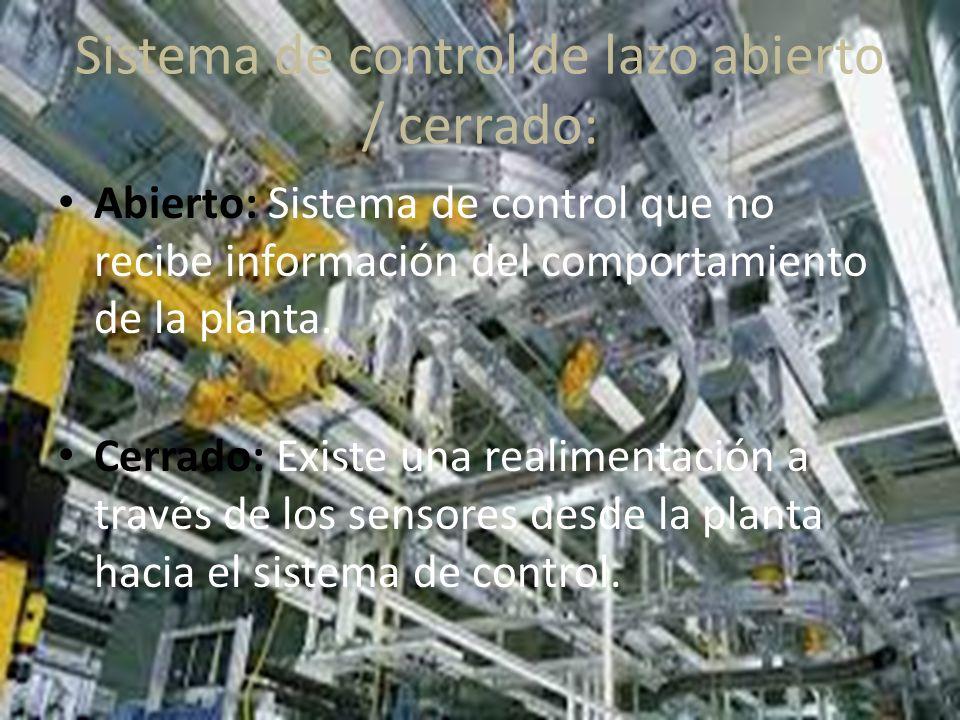 Sistema de control de lazo abierto / cerrado: Abierto: Sistema de control que no recibe información del comportamiento de la planta.