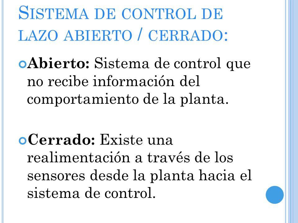 S ISTEMA DE CONTROL DE LAZO ABIERTO / CERRADO : Abierto: Sistema de control que no recibe información del comportamiento de la planta.