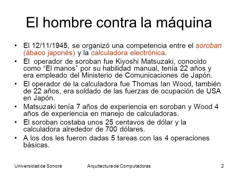 Universidad de SonoraArquitectura de Computadoras2 El hombre contra la máquina El 12/11/1945, se organizó una competencia entre el soroban (ábaco japo