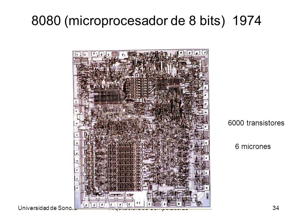 Universidad de SonoraArquitectura de Computadoras34 8080 (microprocesador de 8 bits) 1974 6000 transistores 6 micrones