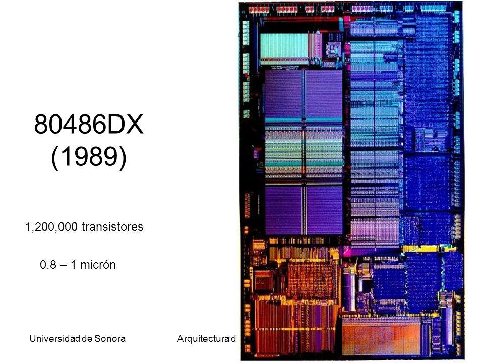 Universidad de SonoraArquitectura de Computadoras39 80486DX (1989) 1,200,000 transistores 0.8 – 1 micrón