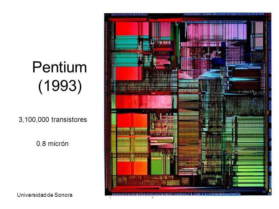 Universidad de SonoraArquitectura de Computadoras41 Pentium (1993) 3,100,000 transistores 0.8 micrón
