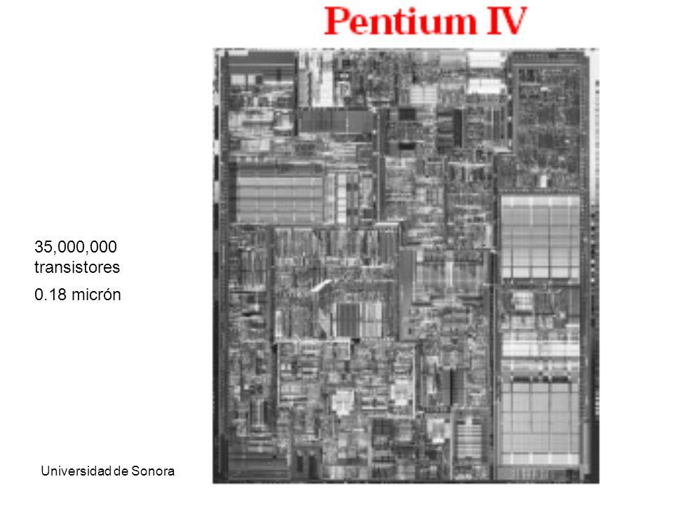 Universidad de SonoraArquitectura de Computadoras44 0.18 micrón 35,000,000 transistores