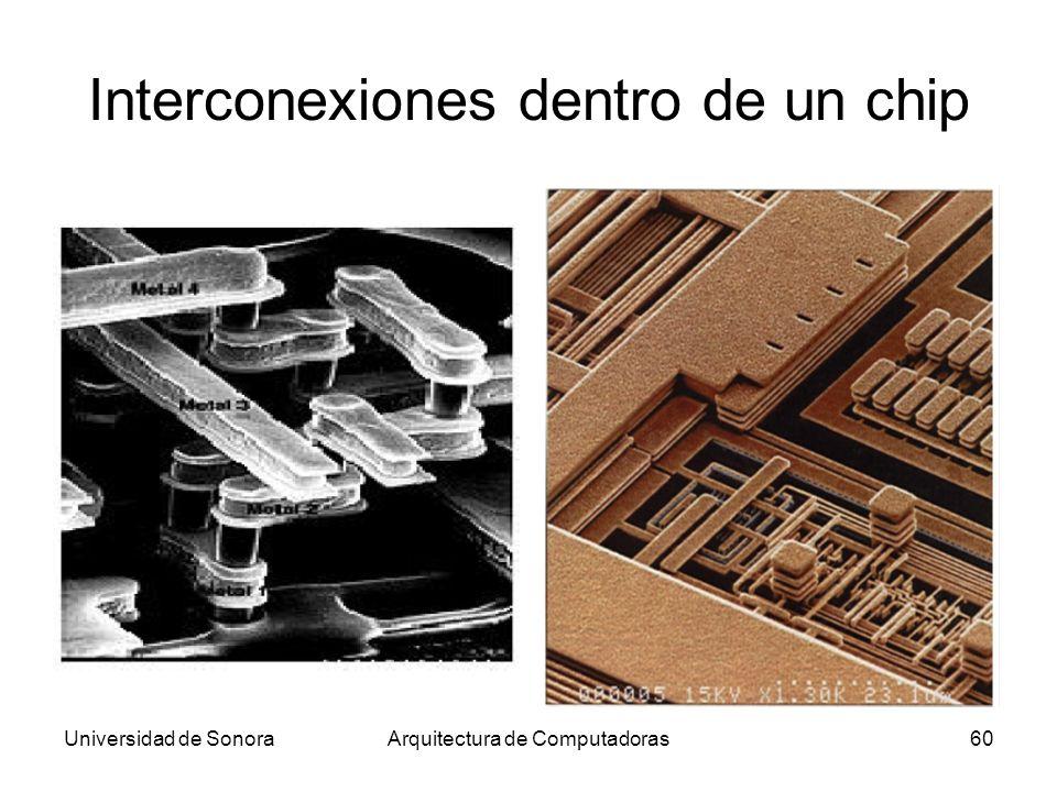 Universidad de SonoraArquitectura de Computadoras60 Interconexiones dentro de un chip