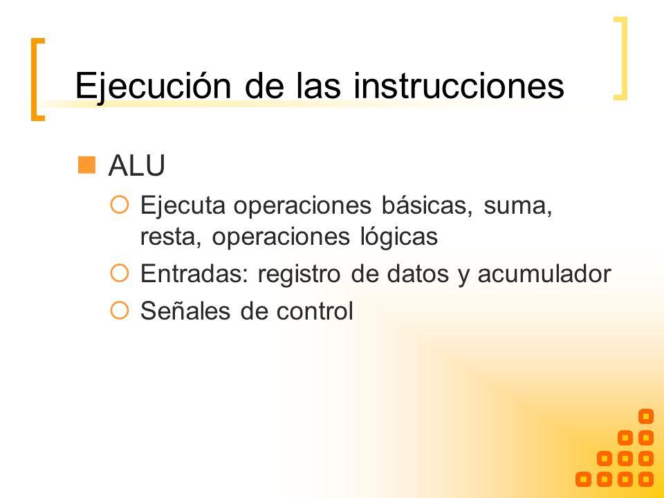 Ejecución de las instrucciones ALU Ejecuta operaciones básicas, suma, resta, operaciones lógicas Entradas: registro de datos y acumulador Señales de c