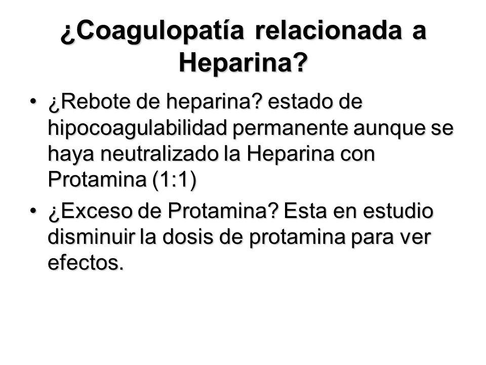 ¿Coagulopatía relacionada a Heparina.¿Rebote de heparina.
