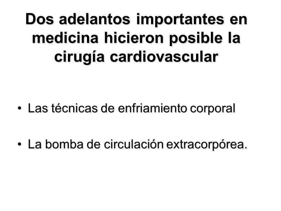 Dos adelantos importantes en medicina hicieron posible la cirugía cardiovascular Las técnicas de enfriamiento corporalLas técnicas de enfriamiento corporal La bomba de circulación extracorpórea.La bomba de circulación extracorpórea.