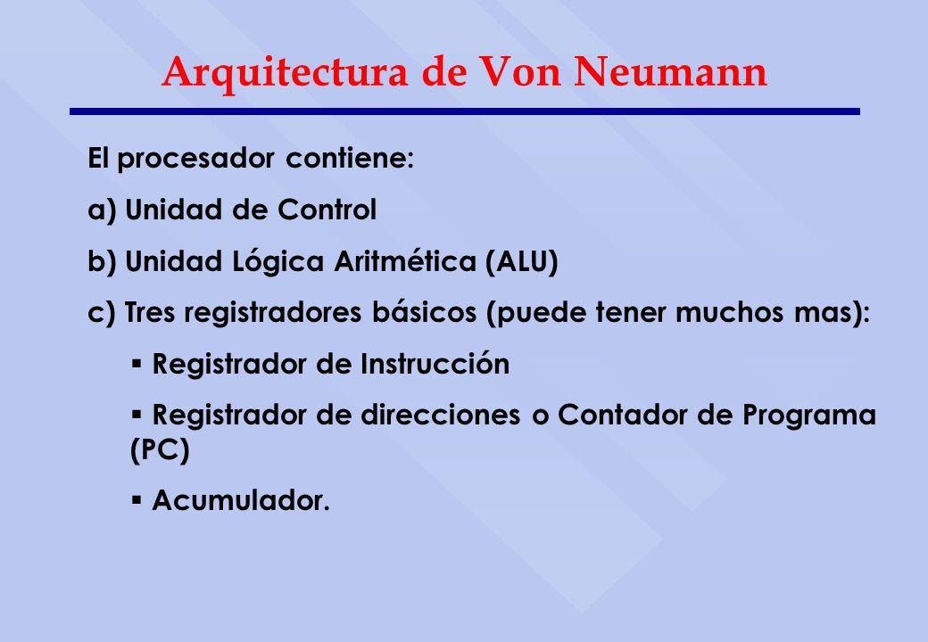 Arquitectura de Von Neumann El procesador contiene: a) Unidad de Control b) Unidad Lógica Aritmética (ALU) c) Tres registradores básicos (puede tener
