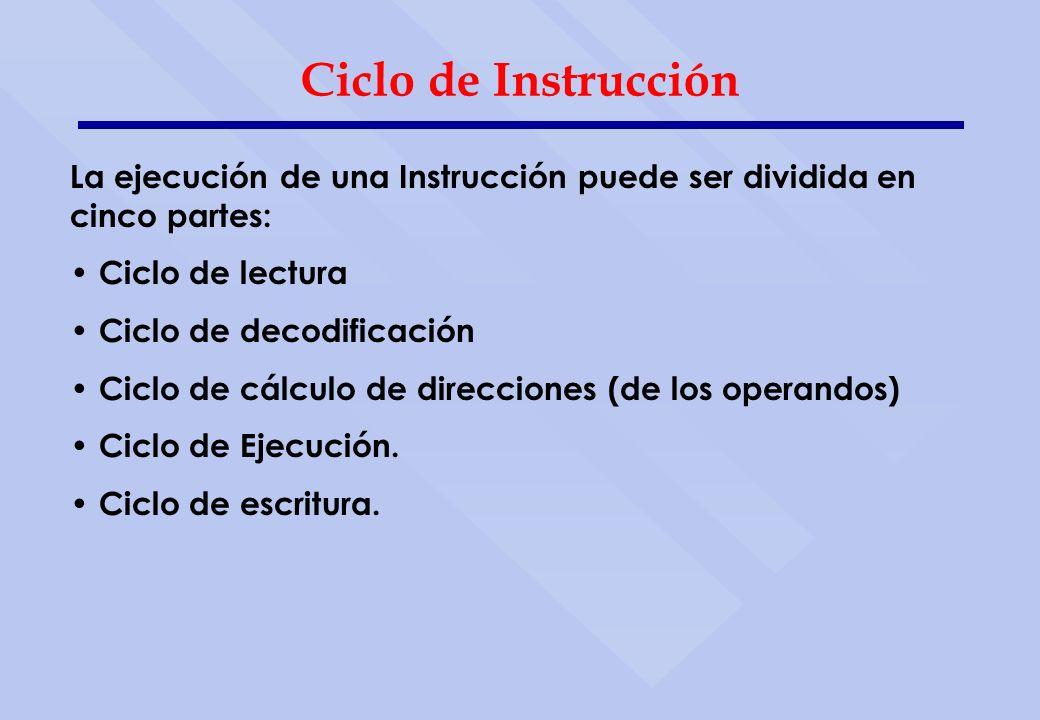 Ciclo de Instrucción La ejecución de una Instrucción puede ser dividida en cinco partes: Ciclo de lectura Ciclo de decodificación Ciclo de cálculo de