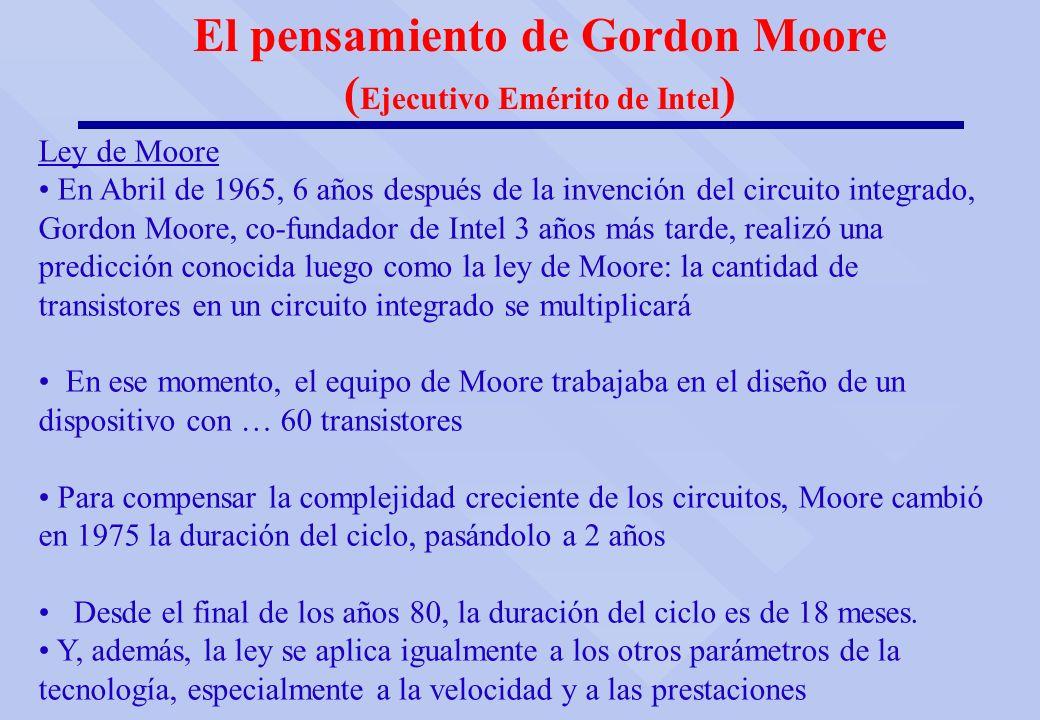 Ley de Moore En Abril de 1965, 6 años después de la invención del circuito integrado, Gordon Moore, co-fundador de Intel 3 años más tarde, realizó una