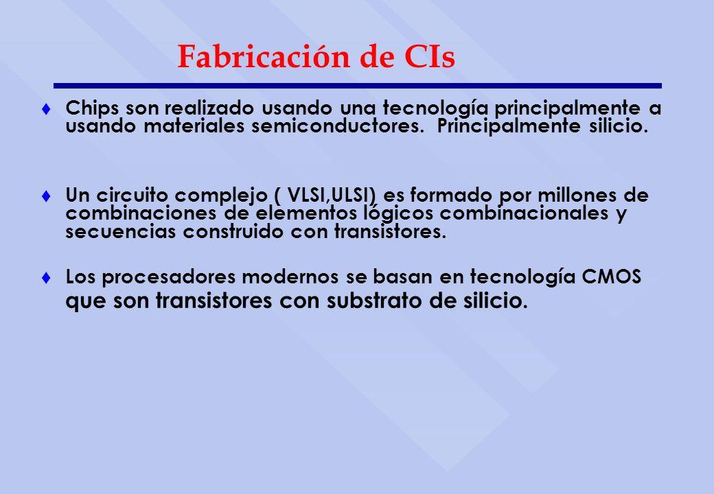 Fabricación de CIs t Chips son realizado usando una tecnología principalmente a usando materiales semiconductores. Principalmente silicio. t Un circui