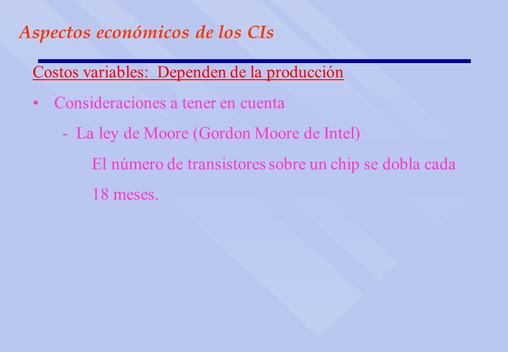 Aspectos económicos de los CIs Costos variables: Dependen de la producción Consideraciones a tener en cuenta - La ley de Moore (Gordon Moore de Intel)