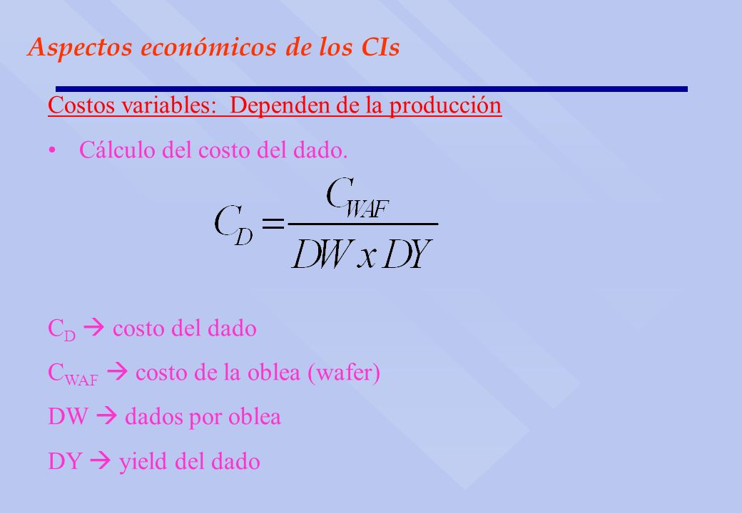 Aspectos económicos de los CIs Costos variables: Dependen de la producción Cálculo del costo del dado. C D costo del dado C WAF costo de la oblea (waf