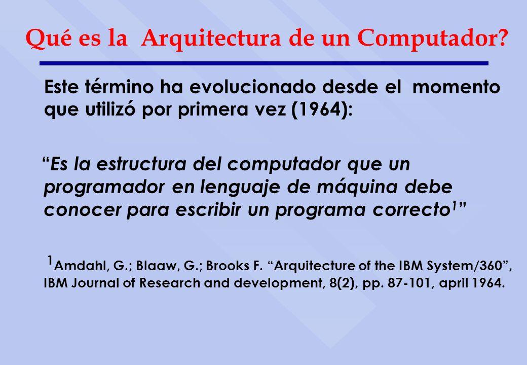 Este término ha evolucionado desde el momento que utilizó por primera vez (1964): Es la estructura del computador que un programador en lenguaje de má