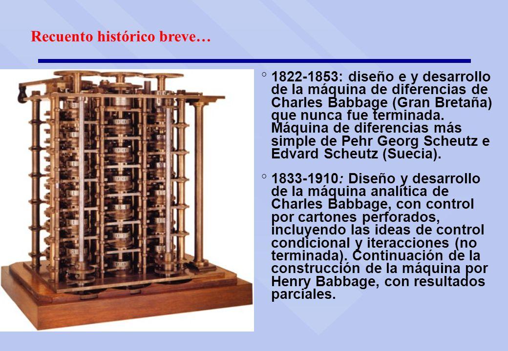 ° 1822-1853: diseño e y desarrollo de la máquina de diferencias de Charles Babbage (Gran Bretaña) que nunca fue terminada. Máquina de diferencias más