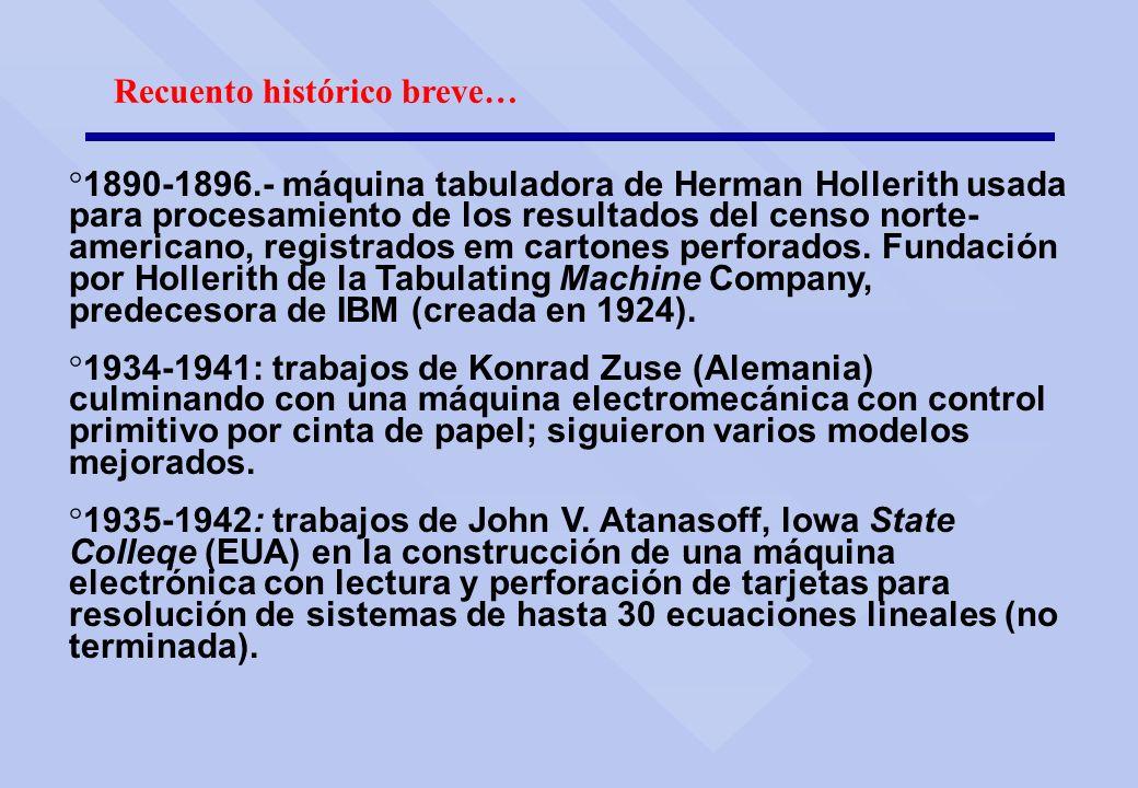 Recuento histórico breve… ° 1890-1896.- máquina tabuladora de Herman Hollerith usada para procesamiento de los resultados del censo norte- americano,
