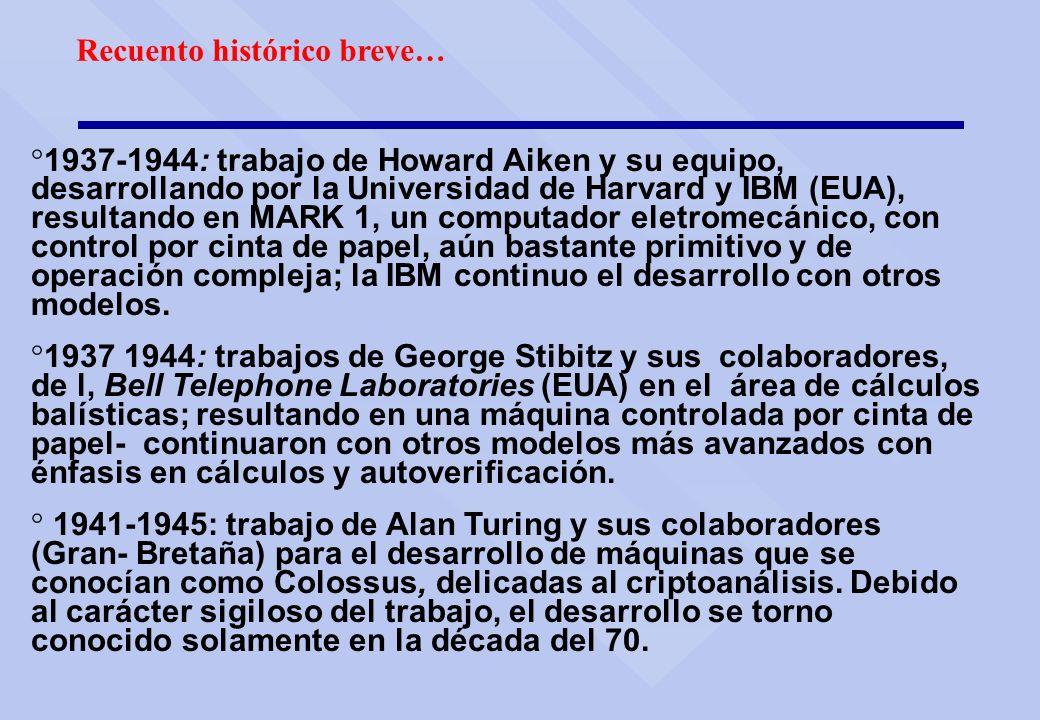 Recuento histórico breve… ° 1937-1944: trabajo de Howard Aiken y su equipo, desarrollando por la Universidad de Harvard y IBM (EUA), resultando en MAR