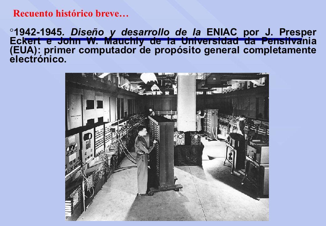 Recuento histórico breve… ° 1942-1945. Diseño y desarrollo de la ENIAC por J. Presper Eckert e John W. Mauchly de la Universidad da Pensilvania (EUA):