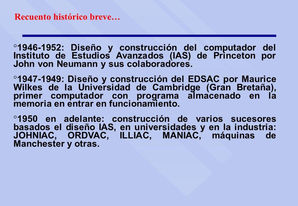 Recuento histórico breve… ° 1946-1952: Diseño y construcción del computador del Instituto de Estudios Avanzados (IAS) de Princeton por John von Neuman