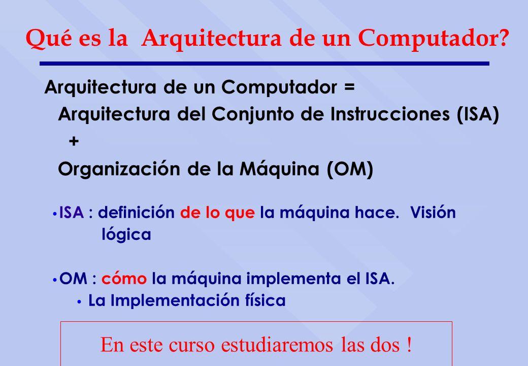 Arquitectura de un Computador = Arquitectura del Conjunto de Instrucciones (ISA) + Organización de la Máquina (OM) Qué es la Arquitectura de un Comput