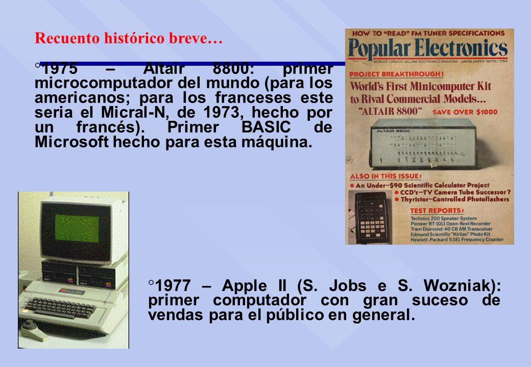 Recuento histórico breve… ° 1975 – Altair 8800: primer microcomputador del mundo (para los americanos; para los franceses este seria el Micral-N, de 1