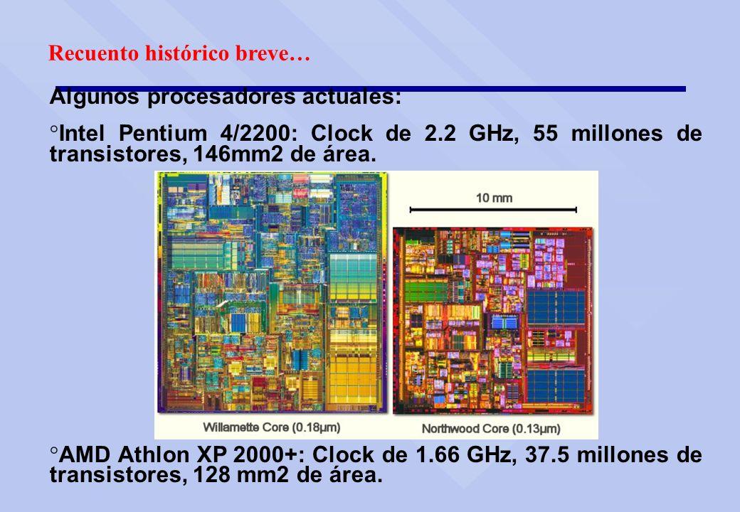 Recuento histórico breve… Algunos procesadores actuales: ° Intel Pentium 4/2200: Clock de 2.2 GHz, 55 millones de transistores, 146mm2 de área. ° AMD