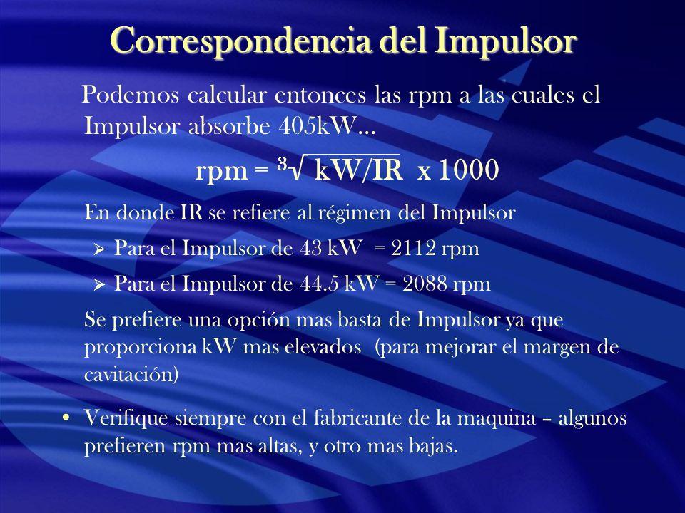 Correspondencia del Impulsor Podemos calcular entonces las rpm a las cuales el Impulsor absorbe 405kW… rpm = 3 kW/IR x 1000 En donde IR se refiere al