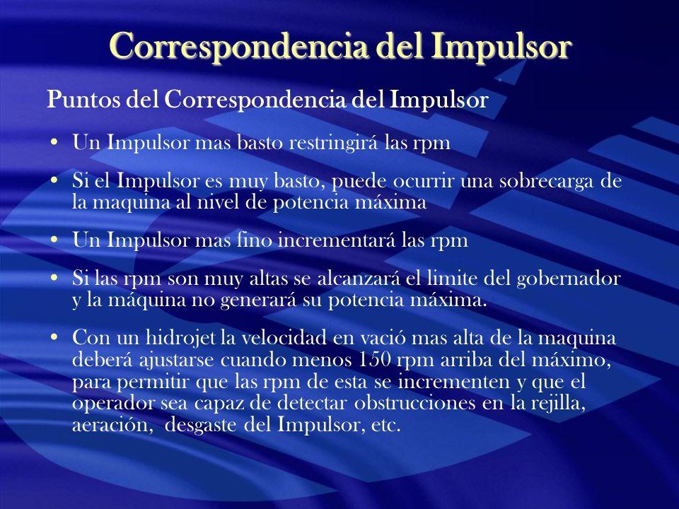 Correspondencia del Impulsor Puntos del Correspondencia del Impulsor Un Impulsor mas basto restringirá las rpm Si el Impulsor es muy basto, puede ocur