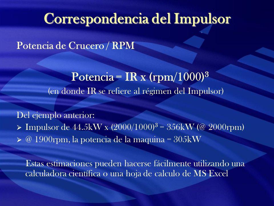 Correspondencia del Impulsor Potencia de Crucero / RPM Potencia = IR x (rpm/1000) 3 (en donde IR se refiere al régimen del Impulsor) Del ejemplo anter