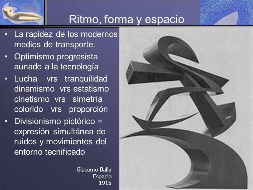 Ritmo, forma y espacio La rapidez de los modernos medios de transporte.