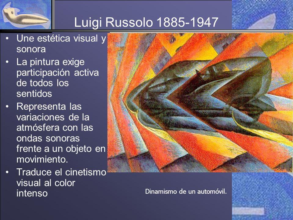 Luigi Russolo 1885-1947 Une estética visual y sonora La pintura exige participación activa de todos los sentidos Representa las variaciones de la atmósfera con las ondas sonoras frente a un objeto en movimiento.
