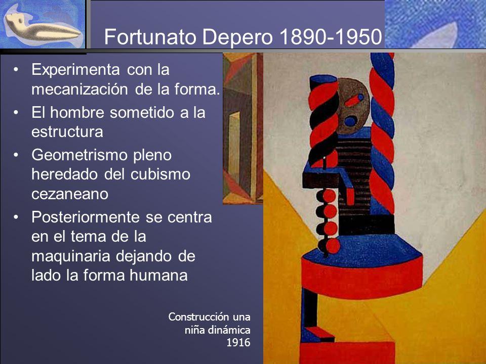 Fortunato Depero 1890-1950 Experimenta con la mecanización de la forma.