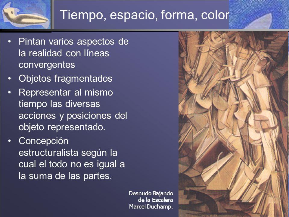 Tiempo, espacio, forma, color Pintan varios aspectos de la realidad con líneas convergentes Objetos fragmentados Representar al mismo tiempo las diversas acciones y posiciones del objeto representado.
