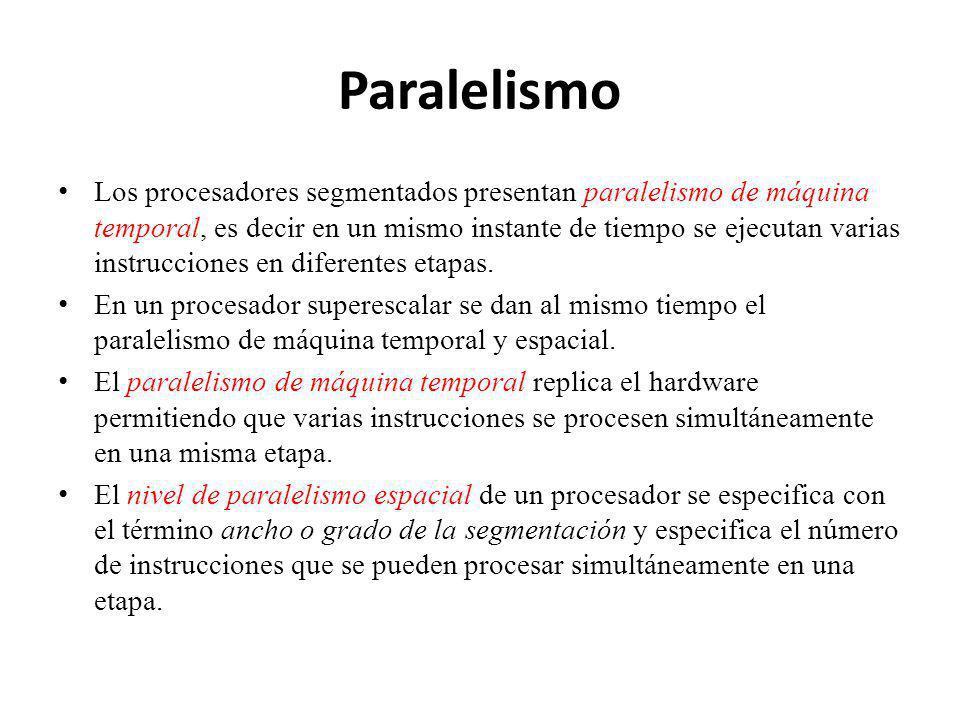 Paralelismo Los procesadores segmentados presentan paralelismo de máquina temporal, es decir en un mismo instante de tiempo se ejecutan varias instrucciones en diferentes etapas.