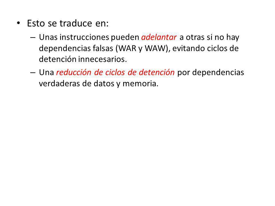 Esto se traduce en: – Unas instrucciones pueden adelantar a otras si no hay dependencias falsas (WAR y WAW), evitando ciclos de detención innecesarios.