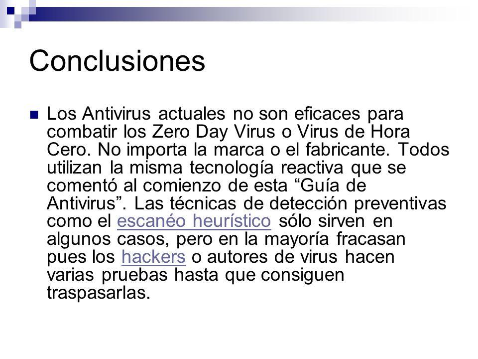 Conclusiones Los Antivirus actuales no son eficaces para combatir los Zero Day Virus o Virus de Hora Cero. No importa la marca o el fabricante. Todos