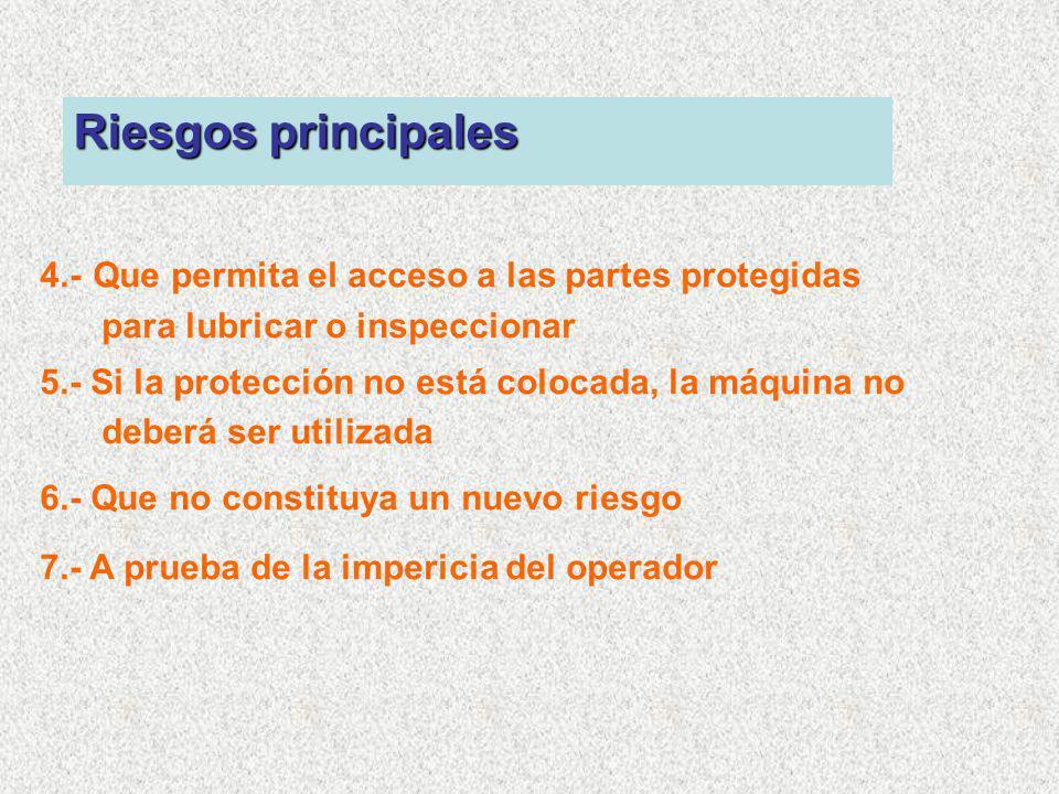4.- Que permita el acceso a las partes protegidas para lubricar o inspeccionar 5.- Si la protección no está colocada, la máquina no deberá ser utiliza