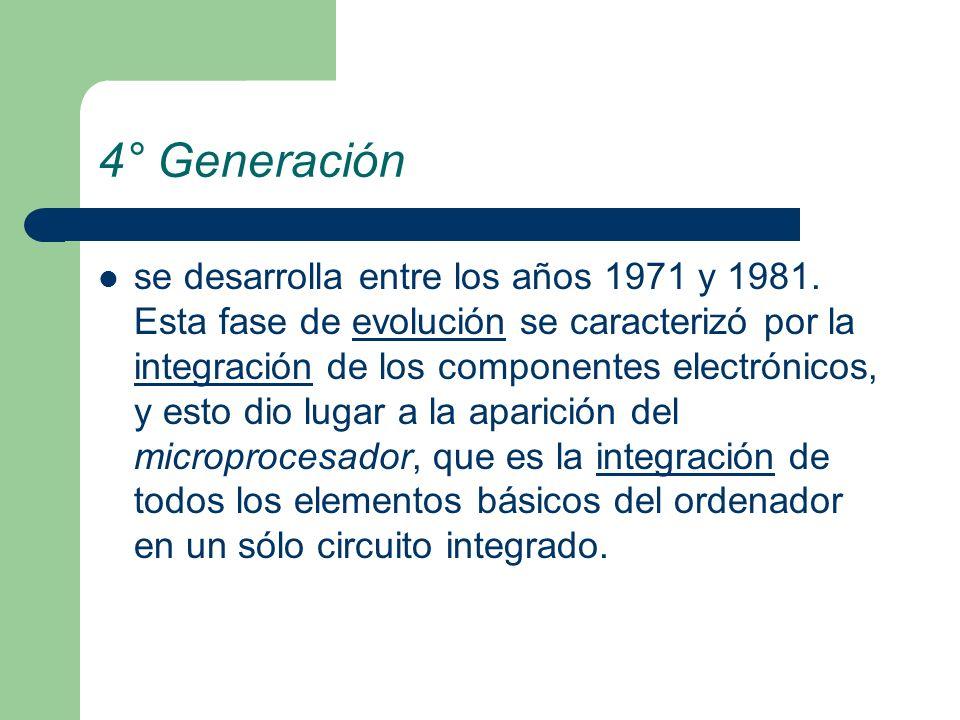 4° Generación se desarrolla entre los años 1971 y 1981. Esta fase de evolución se caracterizó por la integración de los componentes electrónicos, y es