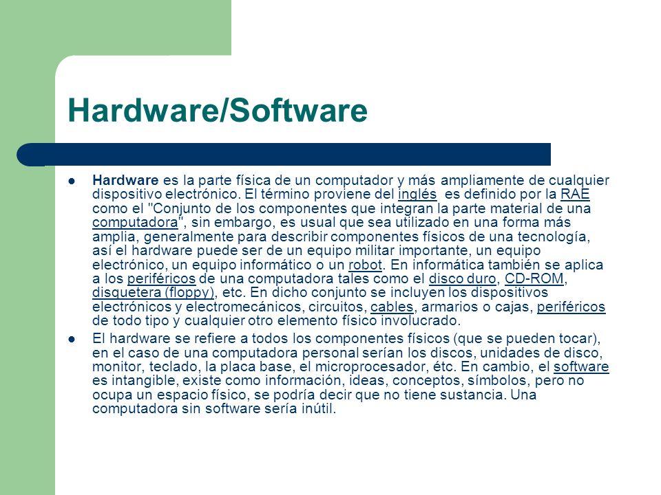 Hardware/Software Hardware es la parte física de un computador y más ampliamente de cualquier dispositivo electrónico. El término proviene del inglés