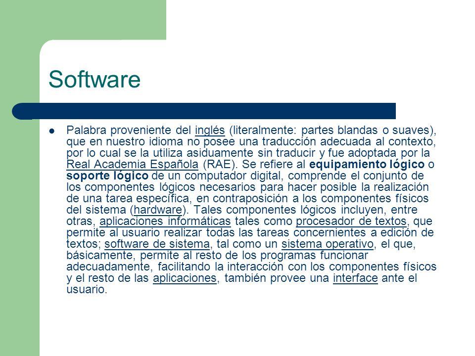 Software Palabra proveniente del inglés (literalmente: partes blandas o suaves), que en nuestro idioma no posee una traducción adecuada al contexto, p